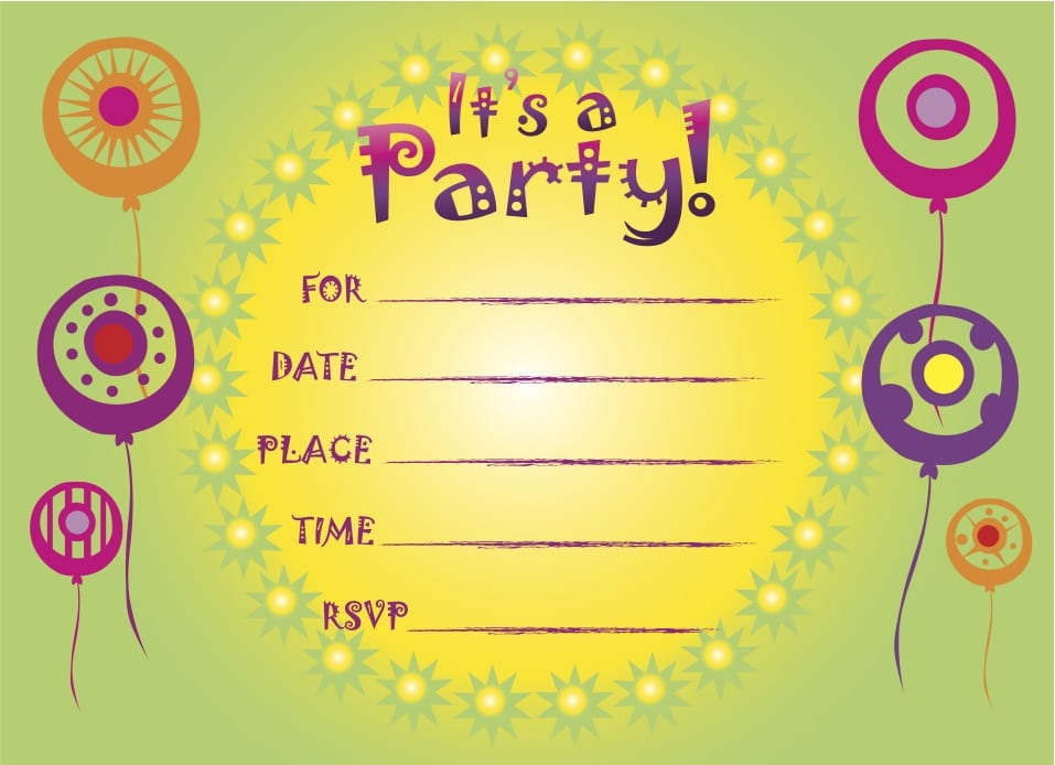 Kids Printable Birthday Party Invitations